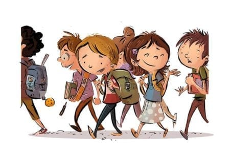 group of student children going to school