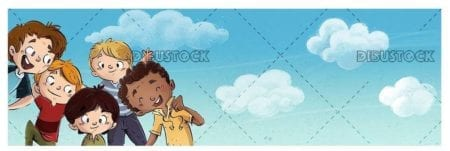 group of sympathetic children in pose on sky background