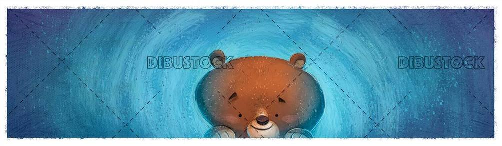 happy bear face on blue background