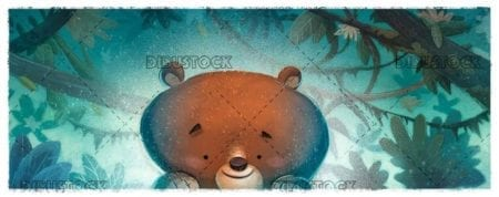 happy bear face with forest background