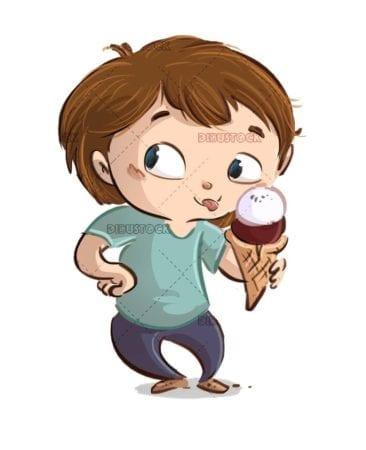 happy boy eating a ball ice cream