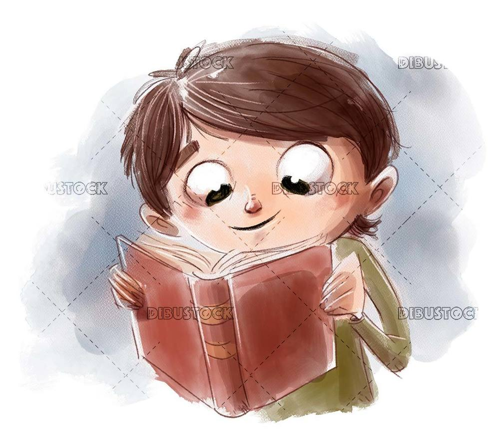 happy boy face reading a book concentrated isolated