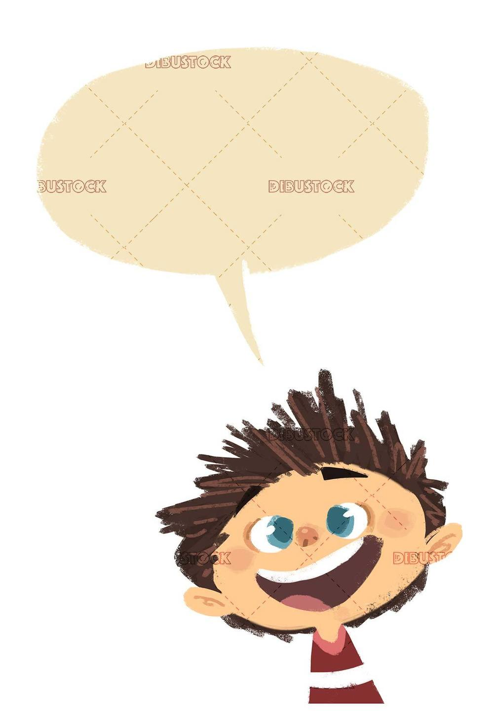 happy boy face talking on isolated background
