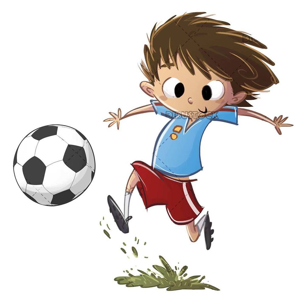 happy boy playing soccer with his ball