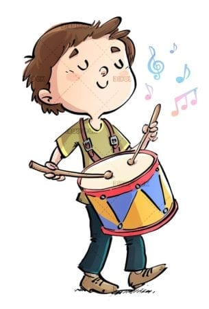 happy boy playing the drum while walking