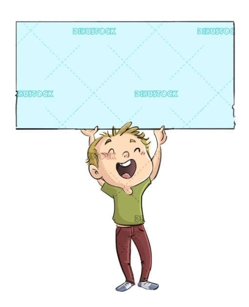 happy boy raising a blue sign