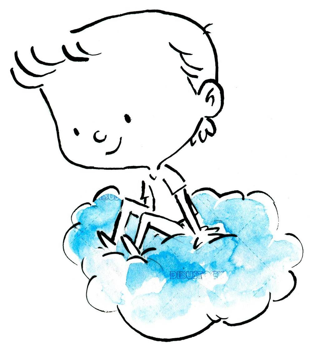 happy boy sitting on a cloud