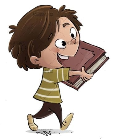 happy boy walking with a book in hands
