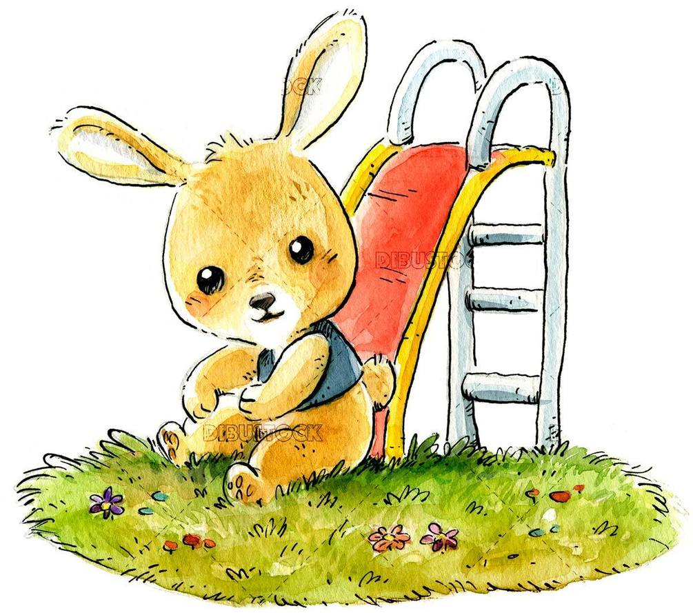 happy bunny sliding down slide