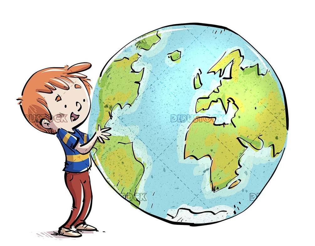 happy child grabbing the planet earth isolated