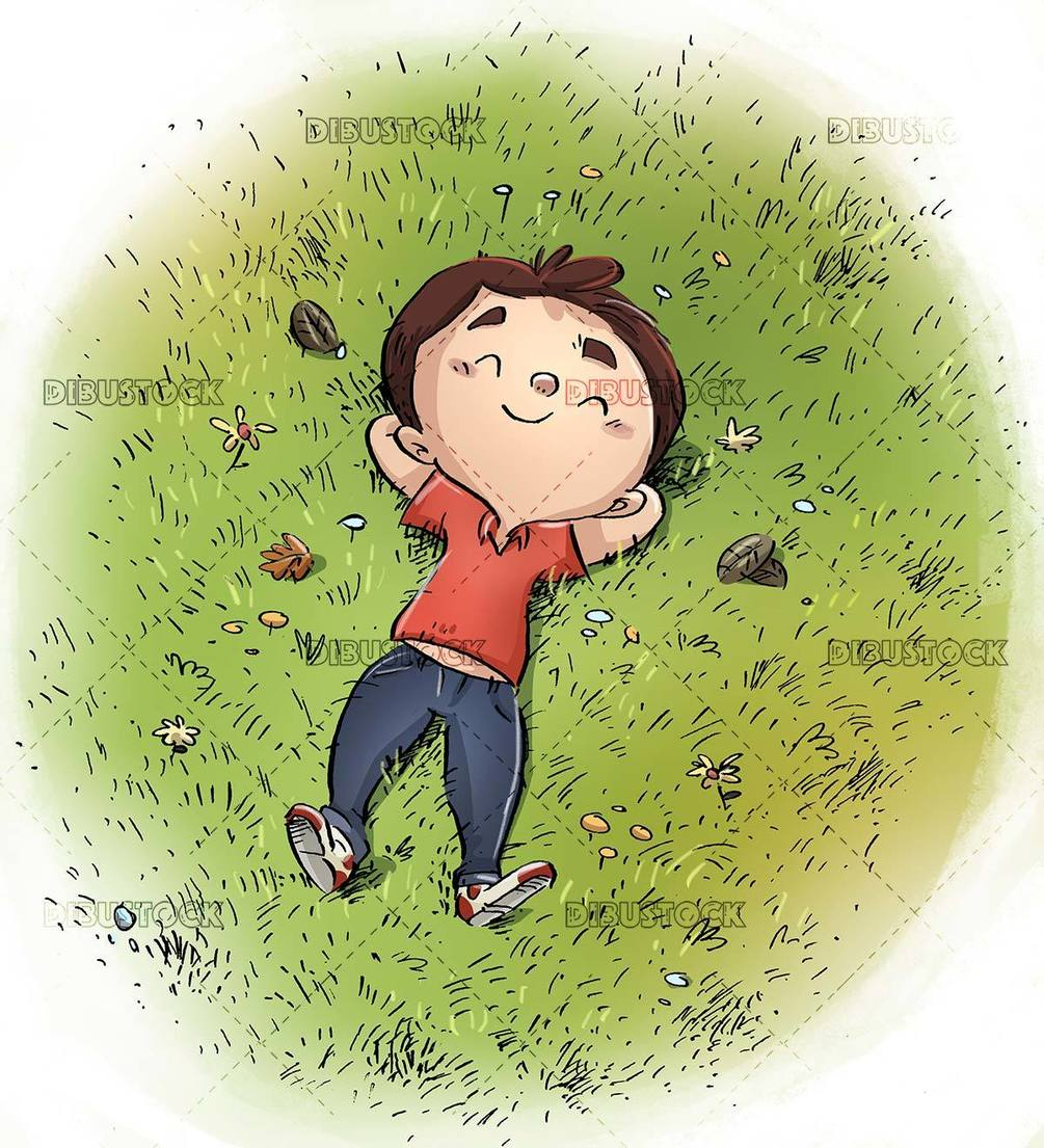 happy child lying quietly in meadow