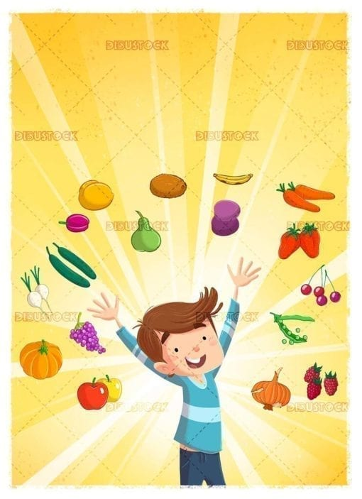 happy child surrounded by fresh fruit and vegetables