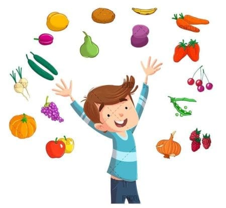happy child surrounded by fresh fruits and vegetables isolated