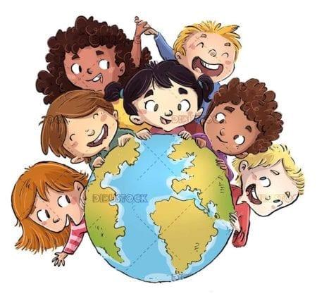 happy children around planet earth