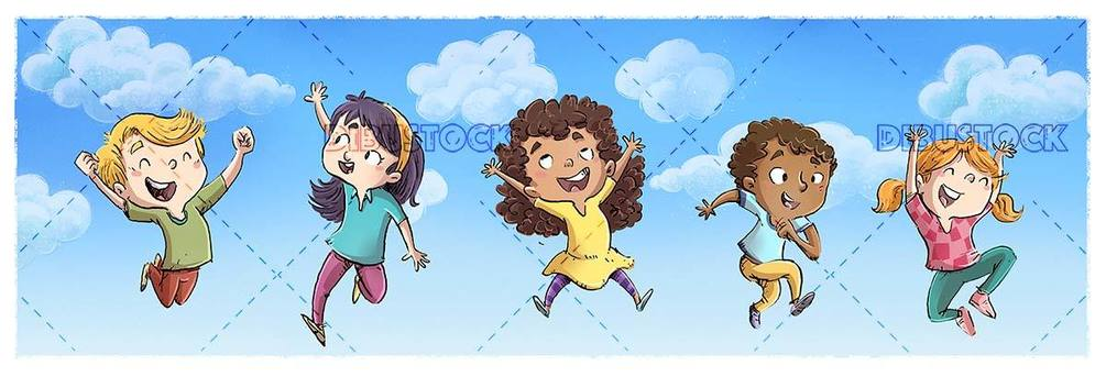 happy children jumping up to the clouds