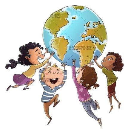 happy children playing with planet earth
