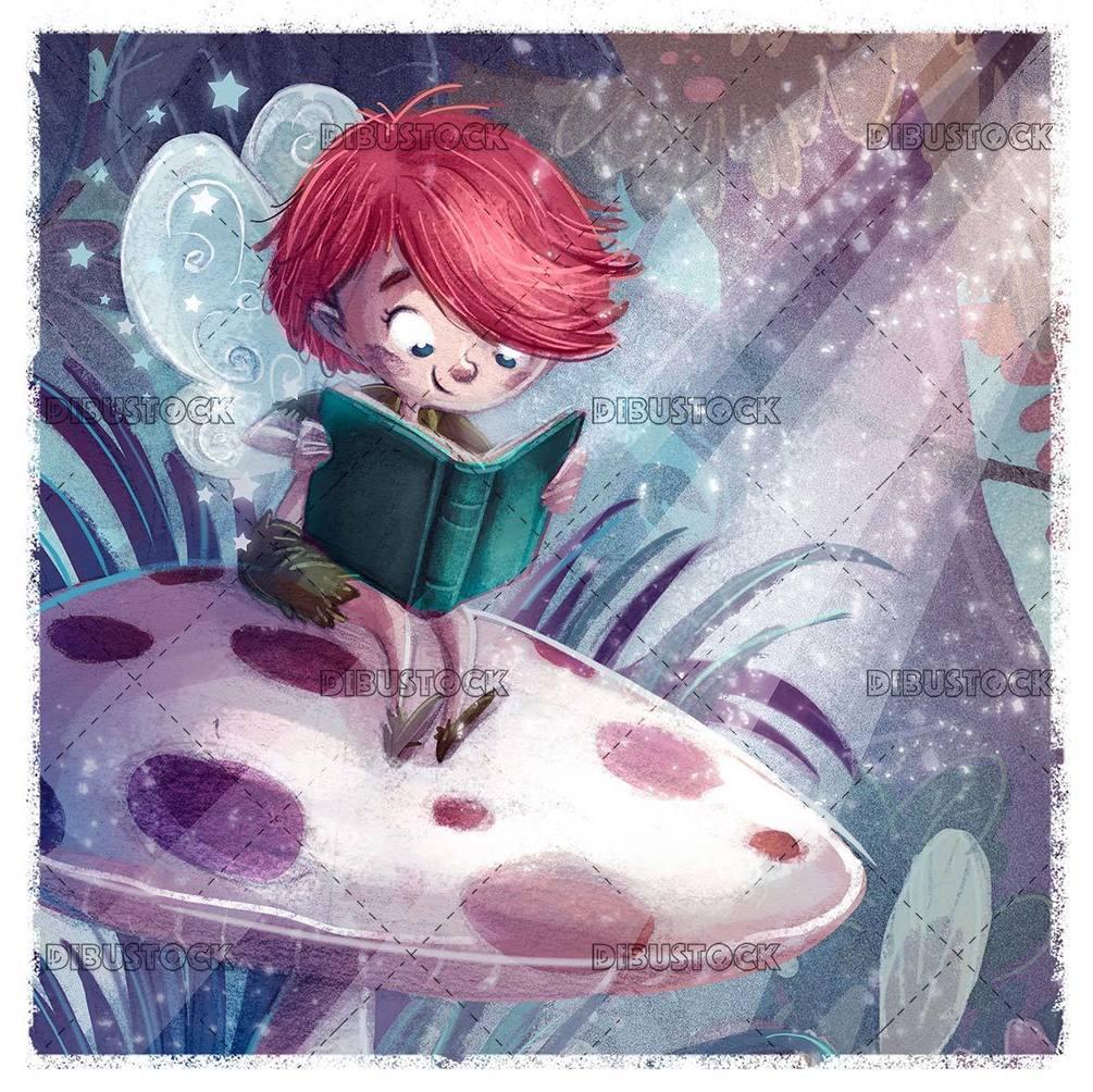 happy fairy sitting on a mushroom reading a book