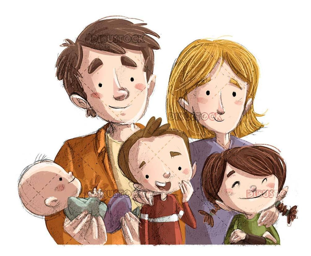 happy family group isolated