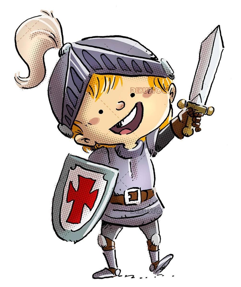 happy gentleman boy with sword and shield