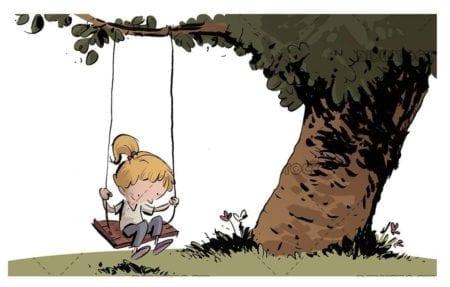 happy girl climb on a swing holding a tree