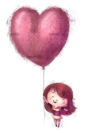 happy girl flying with heart shaped balloon
