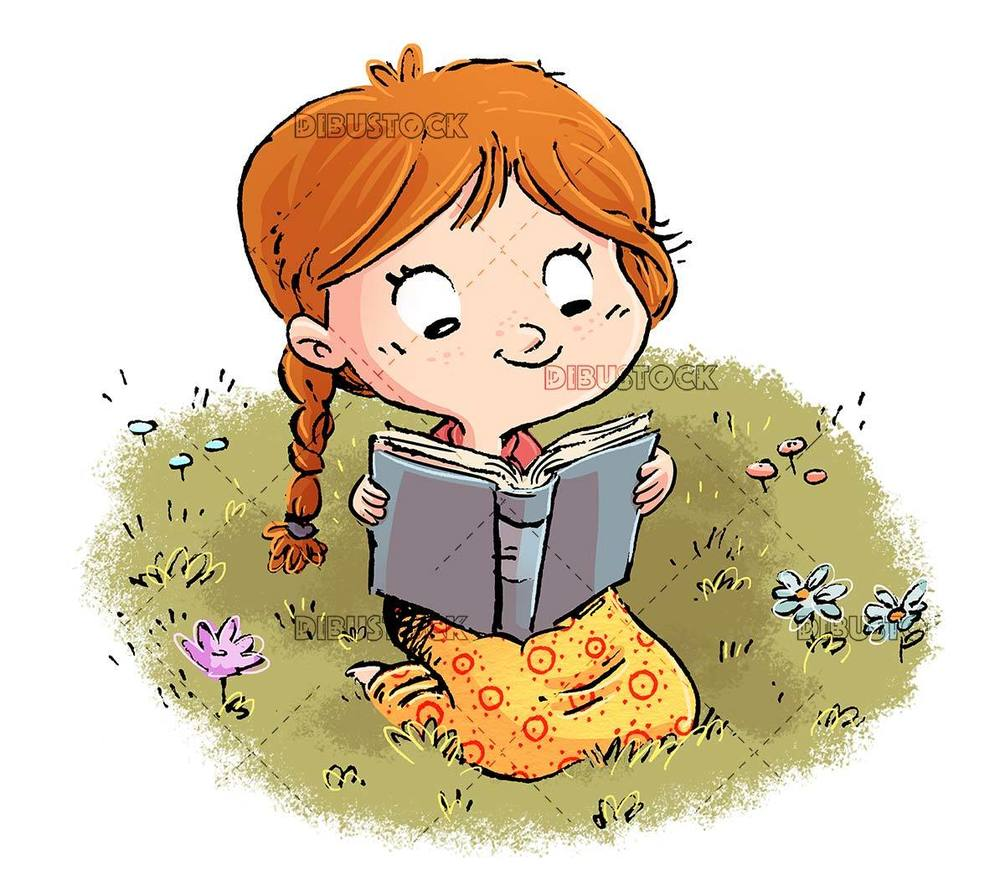 happy girl sitting in the field reading a book isolated