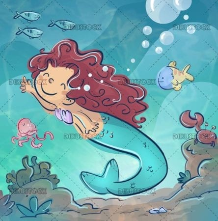 happy mermaid playing in the sea with fish