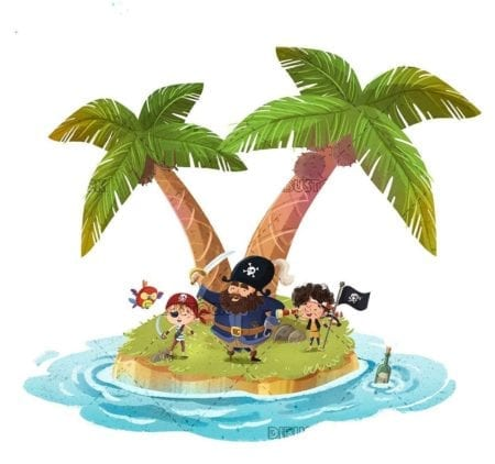 happy pirates on an island in the sea with palm trees