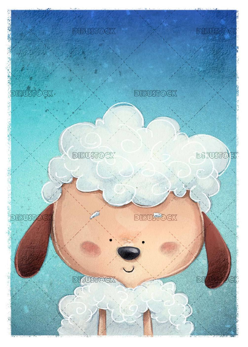 happy sheep face on blue textured background