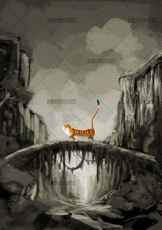 happy tiger walking through nature