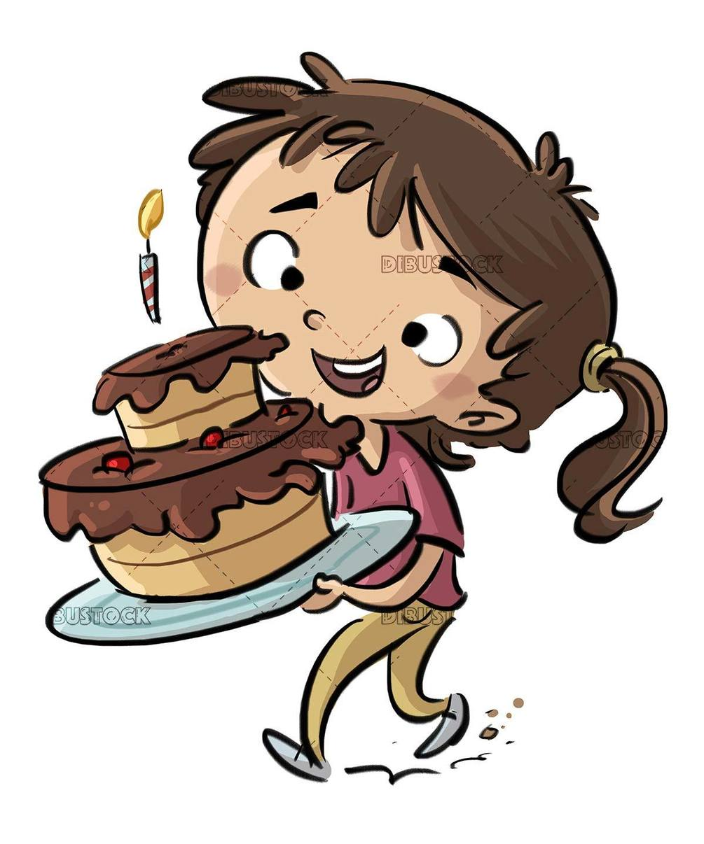happy walking girl with birthday cake in hands