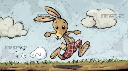 hare rushing across the field