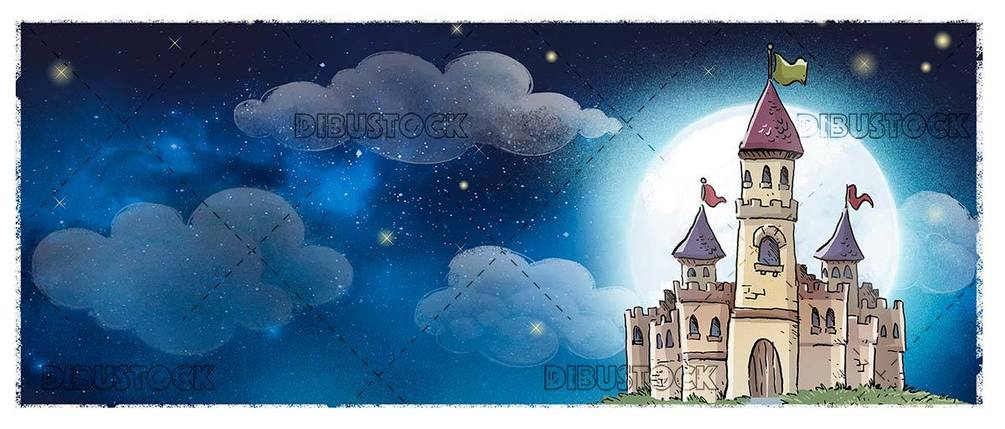 haunted medieval castle at night with moon