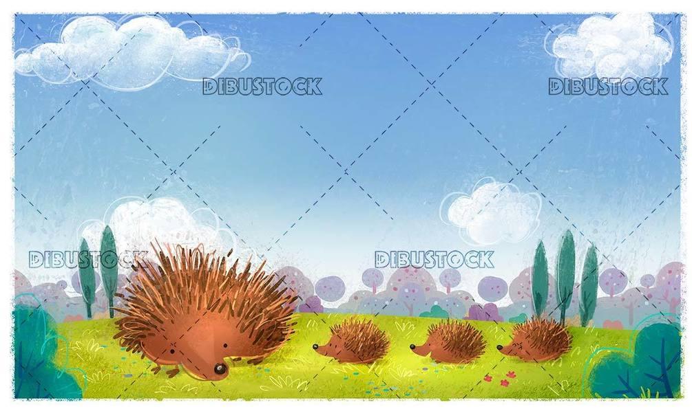 hedgehog family walking through a meadow