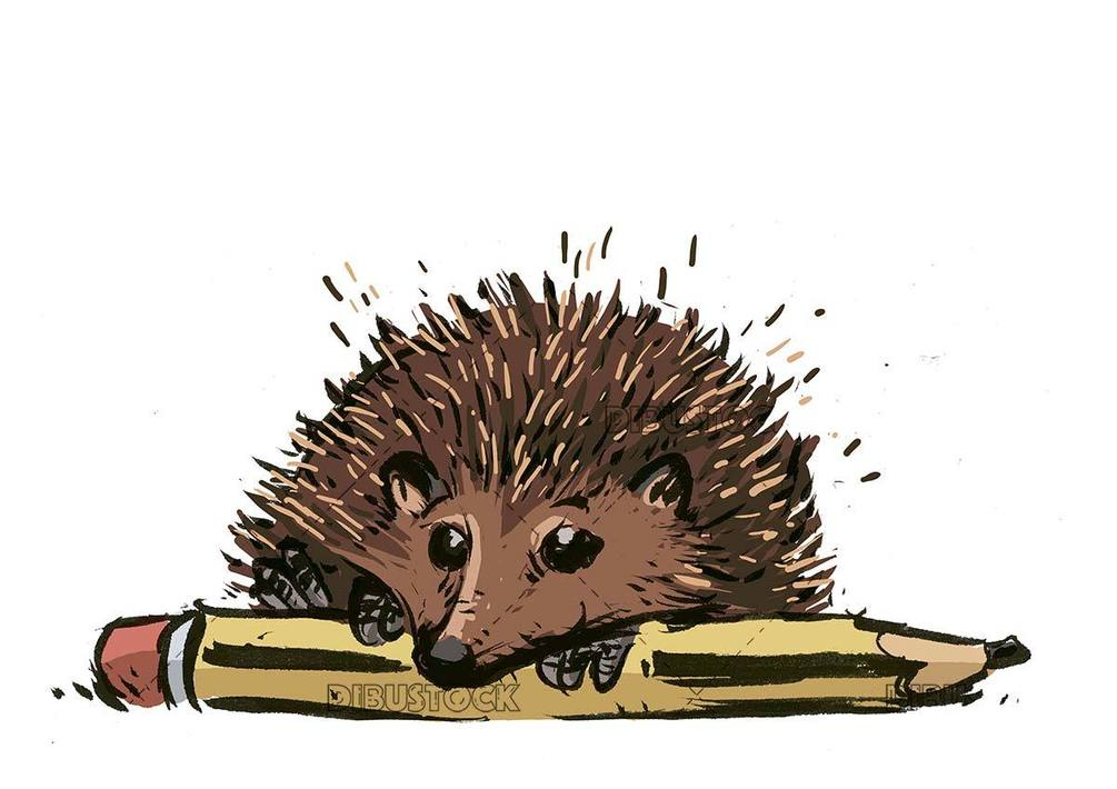 hedgehog on top of a pencil