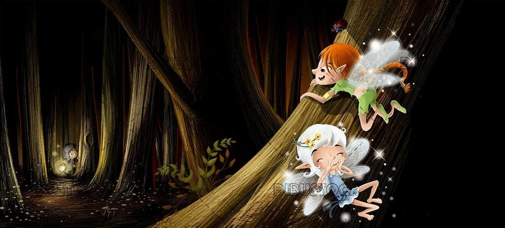 hidden fairies in the forest at night