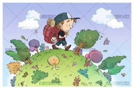 hiker boy walking through circular forest
