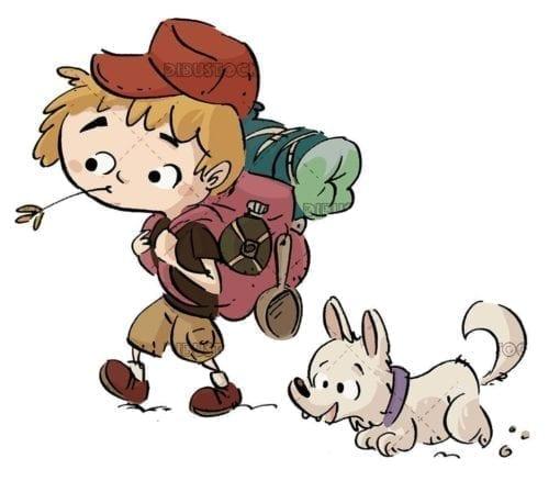 hiker boy walking with white dog on isolated background