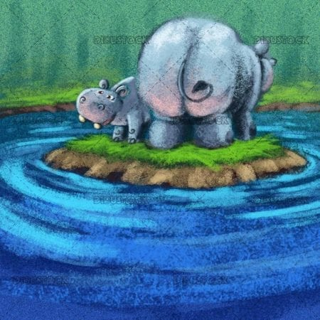 hippo mom and her baby in the water