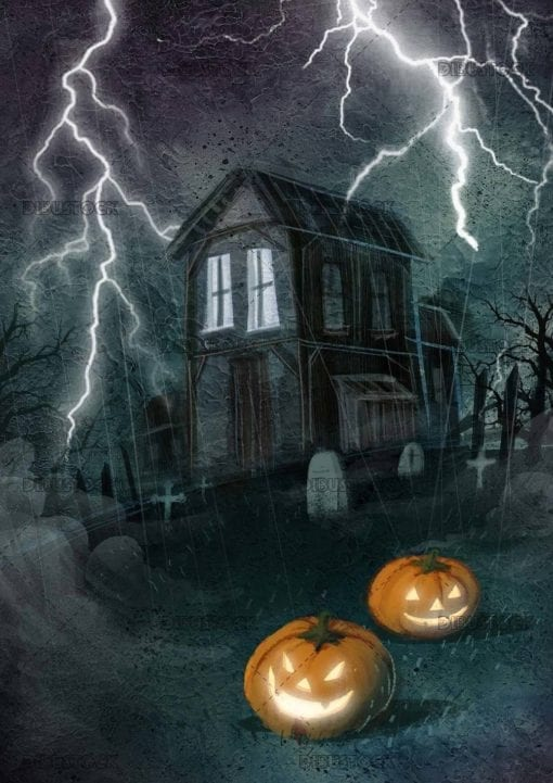 horror house with halloween pumpkins