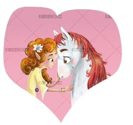 horse and girl faces with heart in background
