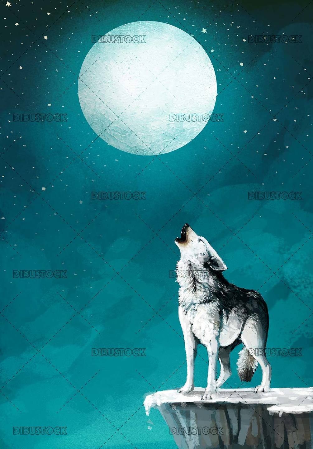 howling wolf under the moon