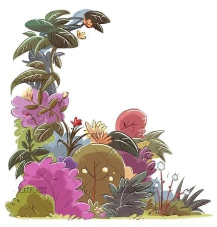 illustration of plants and flowers isolated