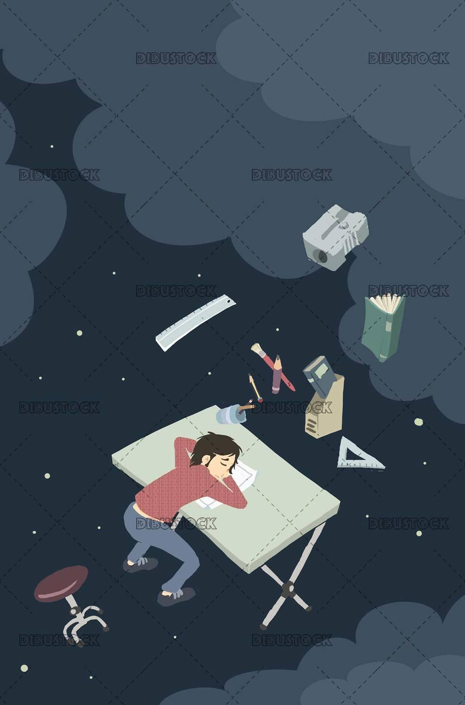illustrator dreaming at his drawing board