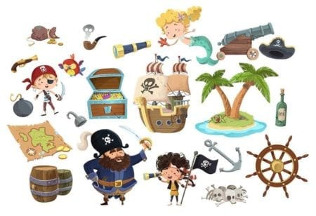 isolated concepts of funny pirates