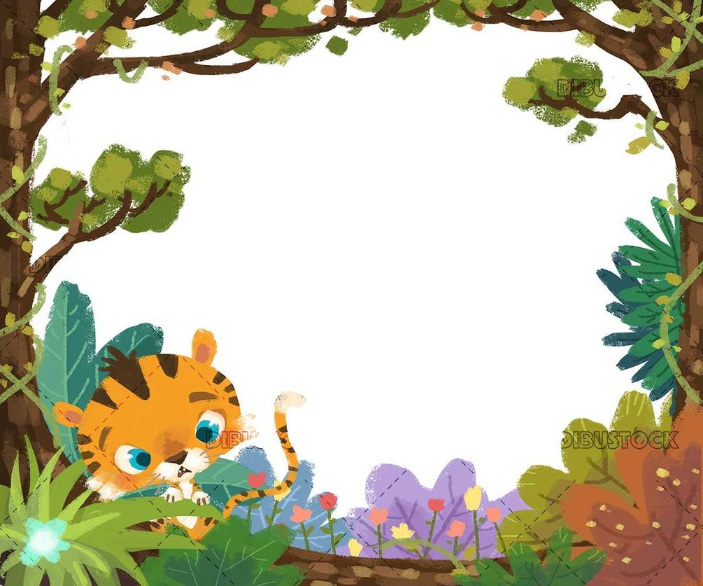 jungle frame with tiger