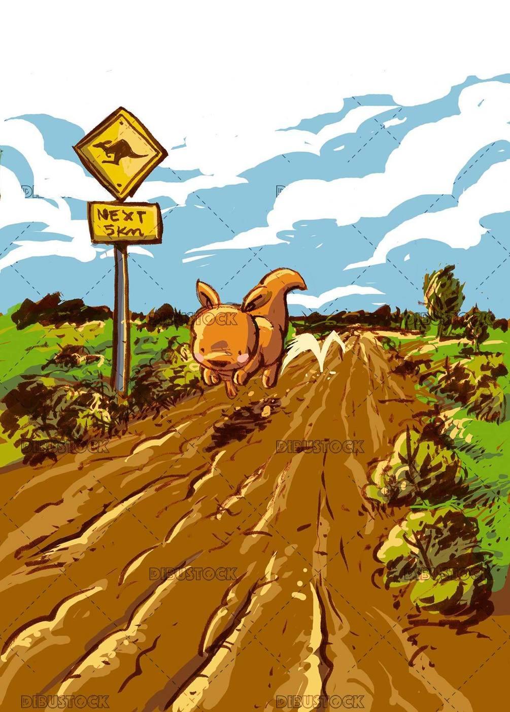 kangaroo jumping down the road