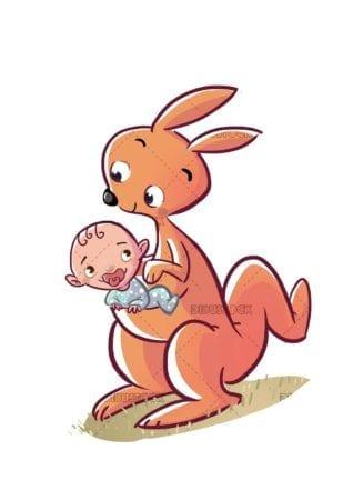 kangaroo with human baby in the bag