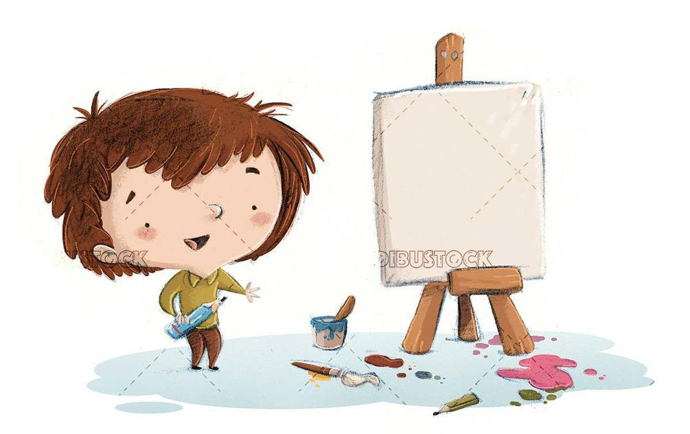 kid about to paint a picture on easel and isolated background