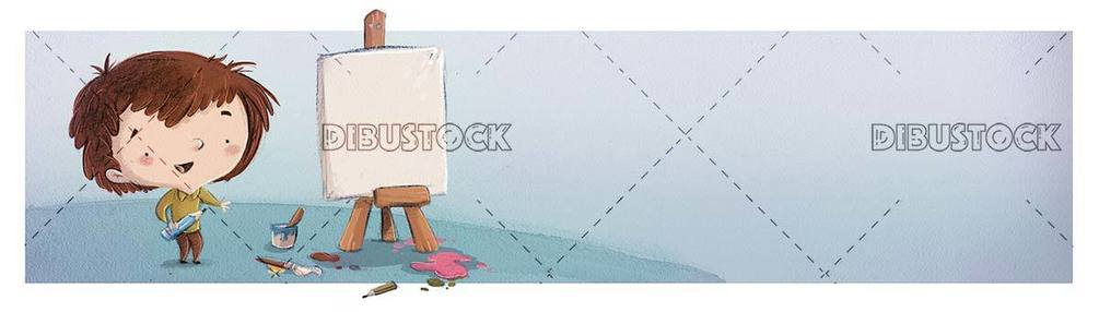 kid about to paint a picture on easel and texture background